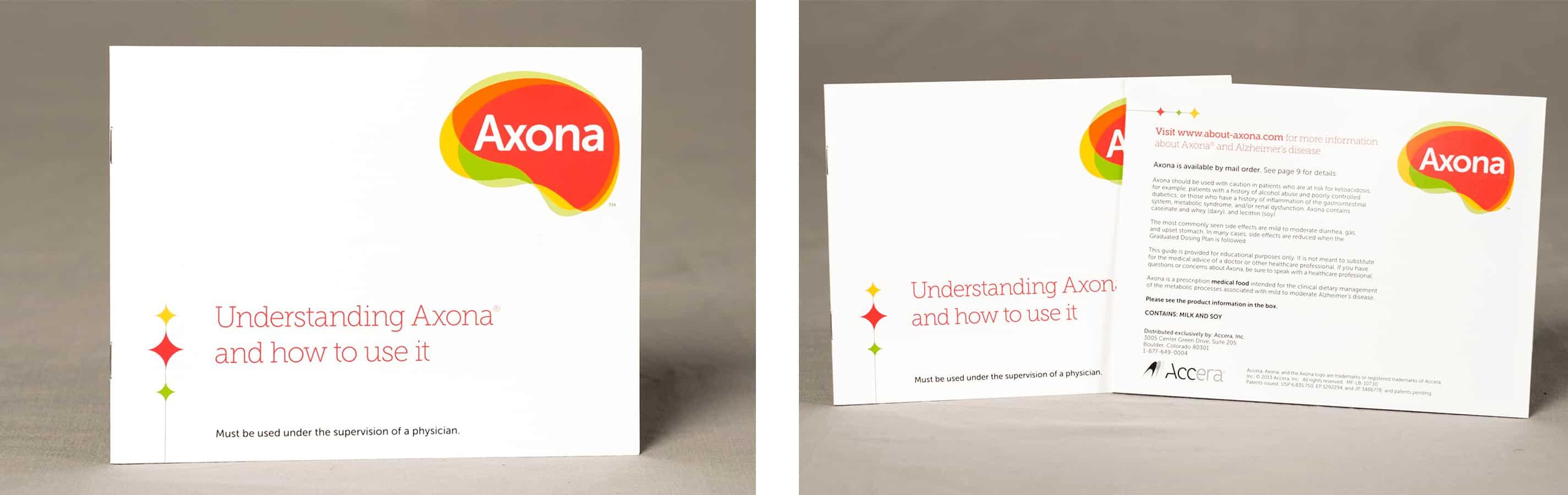 Folded printing package insert for Axona.