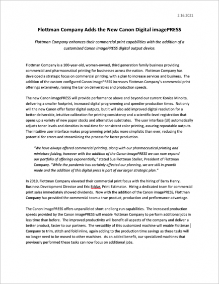 NEW - Canon imagePRESS - Flottman Company - Digital Printer Press Release